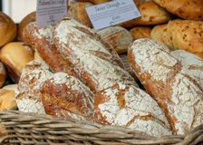 Fresh bread for sale at local farmers market royalty free stock photo
