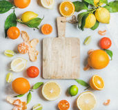 Variety of fresh citrus fruit for making juice or smoothie. And wooden chopping board over light grey marble background, top view, copy space. Healthy eating Royalty Free Stock Photos