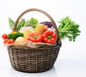 Variety of fresh colorful vegetables. Basket of fresh raw organic vegetable produce, assortment of corn, peppers, broccoli, mushrooms, beets, cabbage, parsley Stock Photos