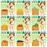 Variety of fresh fruits. Illustration of girl in the grocery stock illustration