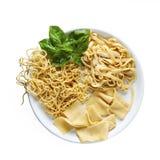 Variety of Fresh Homemade Pasta Isolated. On white Stock Photos