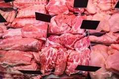 Variety of fresh meat. In supermarket Royalty Free Stock Photography