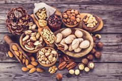Nuts different types stock photos