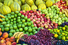 Variety of fresh organic fruits on the street stall Stock Images