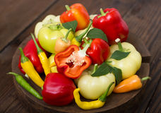 Variety of fresh organic peppers Royalty Free Stock Photography