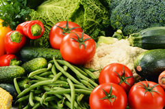 Variety of fresh organic vegetables. Detox diet.  Stock Photo
