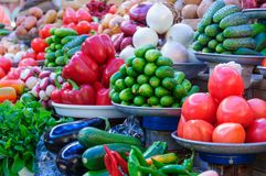 Variety of vegetables on the market. Variety of fresh organic vegetables on the market. Tomato, onion, cucumber, pepper stock images
