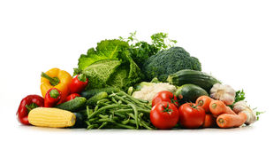 Variety of fresh organic vegetables on white Stock Photo