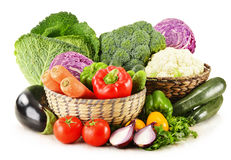 Variety of fresh organic vegetables on white Royalty Free Stock Photo