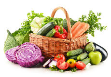 Variety of fresh organic vegetables on white Stock Photos