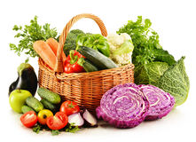 Variety of fresh organic vegetables on white Stock Photography