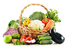 Variety of fresh organic vegetables on white Stock Photo