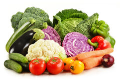 Variety of fresh organic vegetables on white Royalty Free Stock Images
