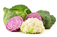 Variety of fresh organic vegetables on white Royalty Free Stock Photography