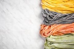 Variety of fresh raw homemade pasta stock photography