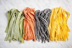 Variety of fresh raw homemade pasta stock image
