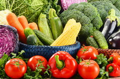 Variety of fresh raw organic vegetables. Composition with variety of fresh raw organic vegetables Stock Image