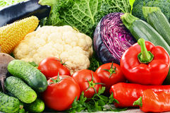 Variety of fresh raw organic vegetables. Composition with variety of fresh raw organic vegetables Royalty Free Stock Image