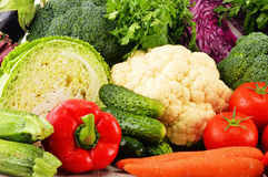 Variety of fresh raw organic vegetables. Composition with variety of fresh raw organic vegetables Royalty Free Stock Images