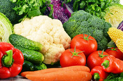 Variety of fresh raw organic vegetables. Composition with variety of fresh raw organic vegetables Royalty Free Stock Photo