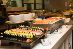 Variety of fresh salads on buffet line Royalty Free Stock Images