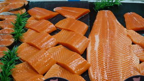 Variety of fresh Sushi fish. Salmon at the store. Full HD food stock footage stock video footage