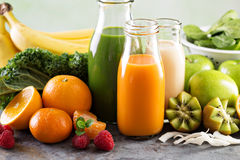 Variety of fresh vegetable and fruit juices Stock Photos