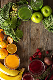 Variety of fresh vegetable and fruit juices Stock Images