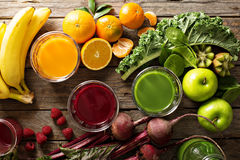 Variety of fresh vegetable and fruit juices royalty free stock image