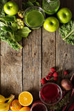 Variety of fresh vegetable and fruit juices Royalty Free Stock Photography
