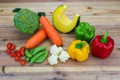 Variety fresh vegetable on woode. N background Stock Image