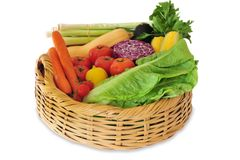 Variety of Fresh Vegetables. A basket of vegetables isolated on white Royalty Free Stock Photography