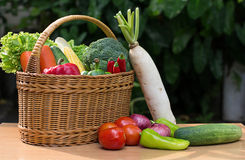 Variety of fresh vegetables in basket on wood tabl Stock Photos