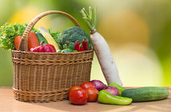 Variety of fresh vegetables in basket on wood table Stock Photography