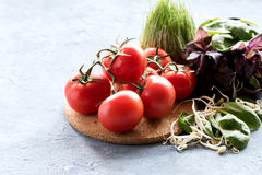Variety of fresh vegetables and herbs Fresh red tomatoes are lying on wooden board Leaves of spinach and basil Mung bean sprouts W Royalty Free Stock Photos