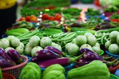 Fresh vegetables on the table at fresh market in Chiangmai, Thailand stock image