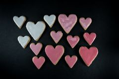Variety of Frosted Heart Cookies. In gradients of pink Royalty Free Stock Images