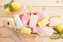 Variety of frozen popsicles Stock Image