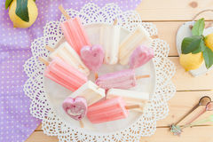 Variety of frozen popsicles Stock Photos