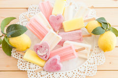 Variety of frozen popsicles Stock Images