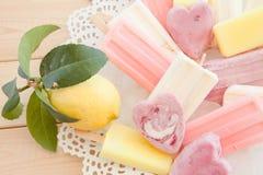 Variety of frozen popsicles Stock Photo