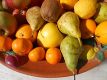 Variety of fruit. Composition of biological  fruits of various kinds Royalty Free Stock Photography