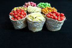 Variety of fruit. In bamboo basket Stock Images