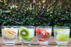 Variety fruit infused water with iced Royalty Free Stock Photos