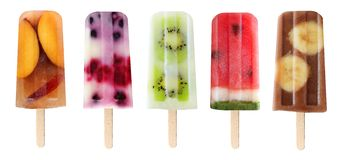 Variety of fruit popsicles isolated on white. Five assorted fruit popsicles isolated on a white background stock photo