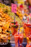 Variety of fruit salad in La Boqueria market in Barcelona. Stock Photos