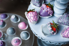 Variety of fruits covered with a color chocolate Stock Images