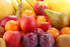 Variety of fruits with drops of water. Composition with fruits with visible drops of water Stock Photo