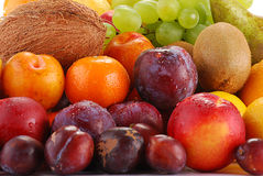 Variety of fruits with drops of water Stock Photography