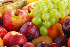Variety of fruits with drops of water. Composition with fruits with visible drops of water Royalty Free Stock Image